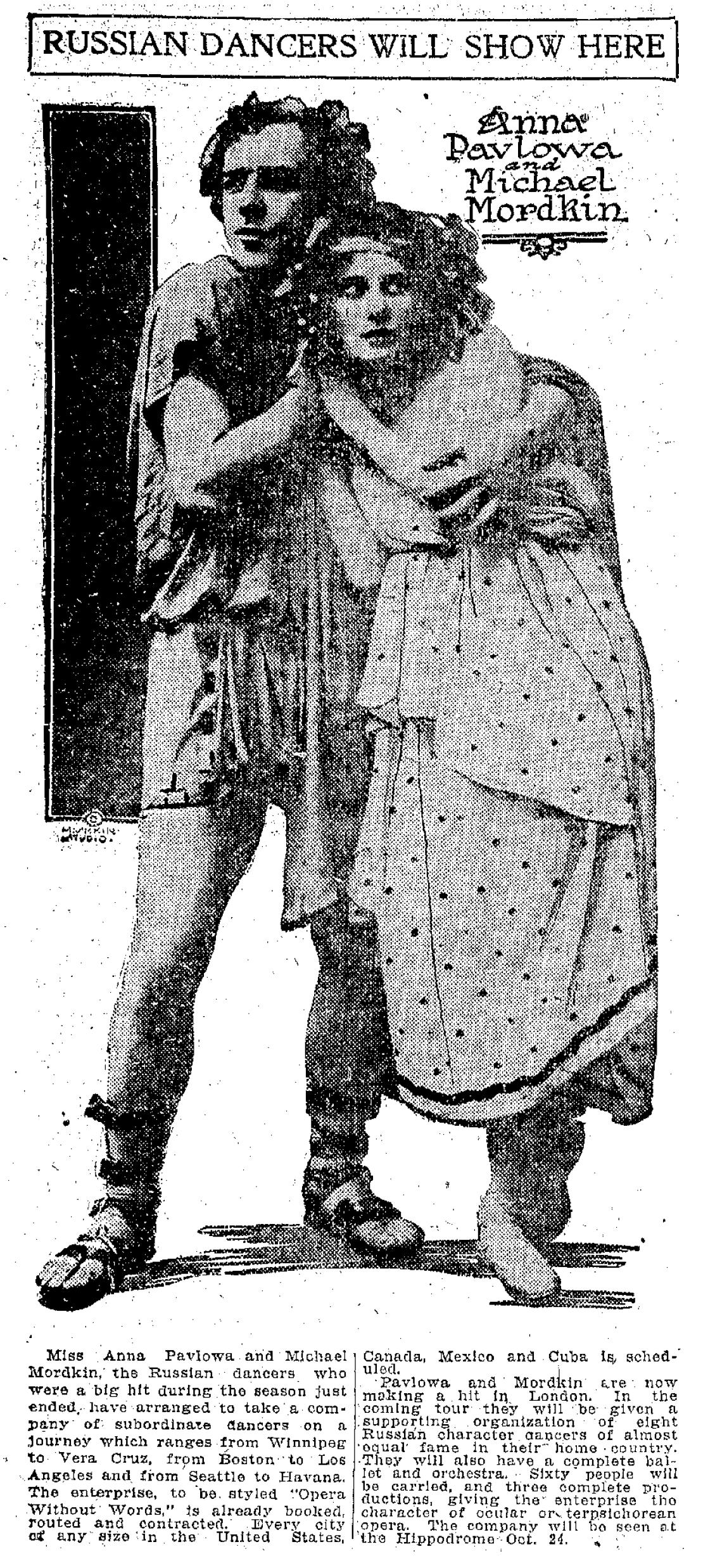 "Advertisement for Anna Pavlova and Mikhail Mordkin in Cleveland at the Hippodrome Theater, ""The Plain Dealer,"" 22 May 1910."
