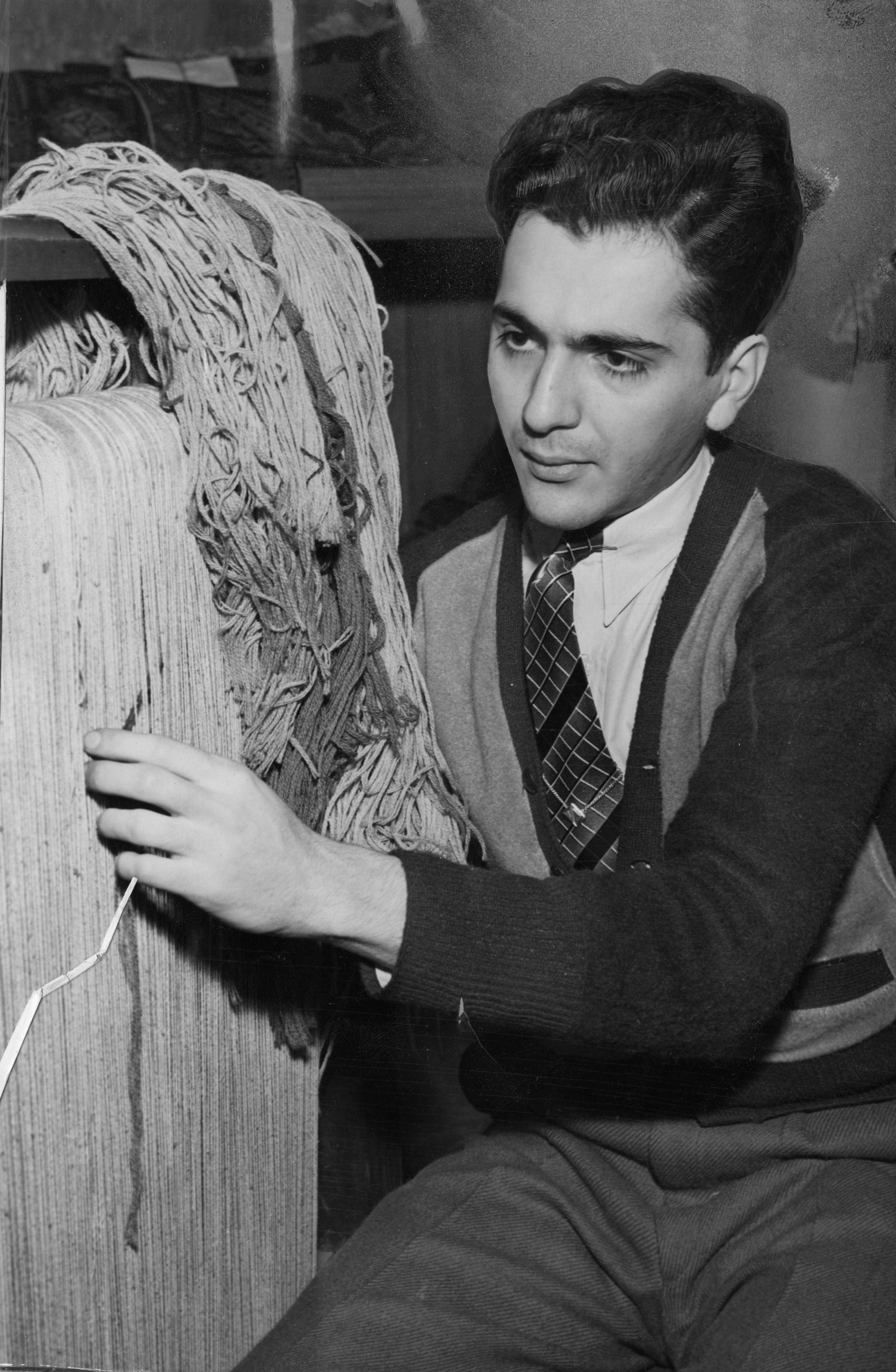 This photograph from 30 December 1940 shows Vahe Gulbenkian repairing such a rug on a loom at 12551 Euclid Ave.