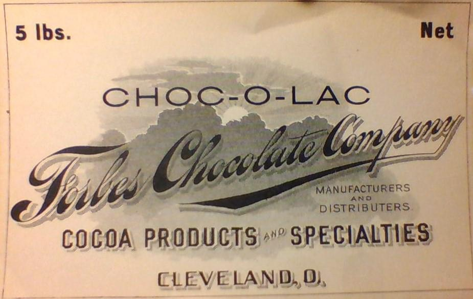 Early Forbes Chocolate Company Logo written in black and white decorative calligraphy