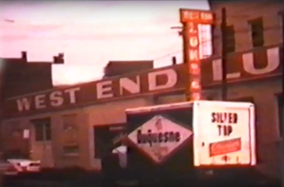 A sepia colored snapshot of West End Lumber's location in the 1960's