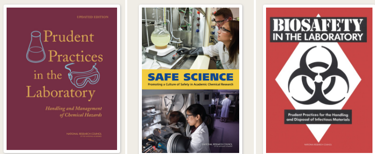 Three PDF book covers titled Prudent Practices in the Laboratory, Safe Science, and Biosafety in the Laboratory