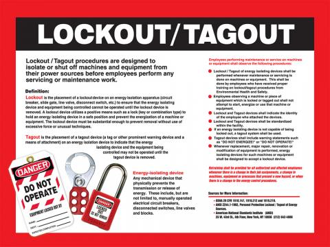 Lockout/Tagout procedures are designed to isolate or shut off machines and equipment from their power sources before employees perform any servicing or maintenance work.