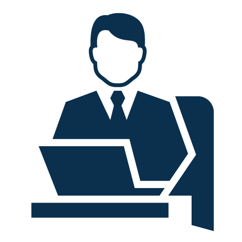 ergonomics icon man sitting at desk