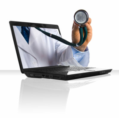 stethoscope and computer