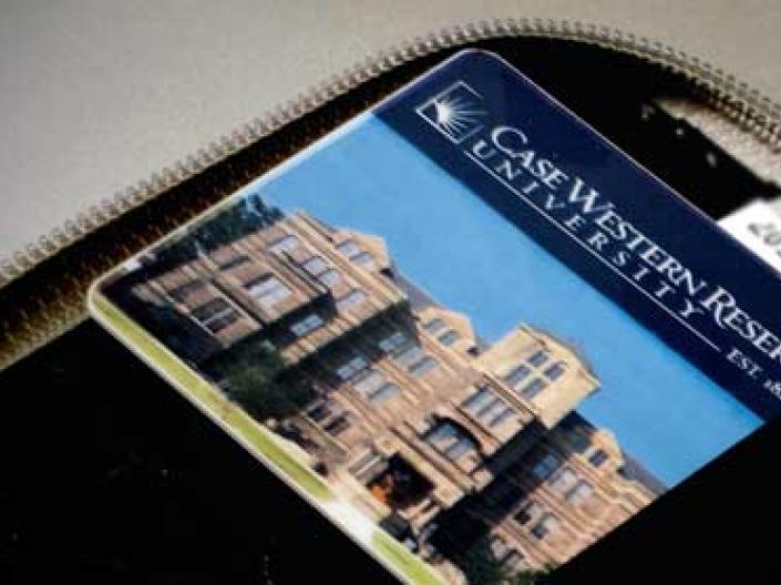 A purse with cwru id card.