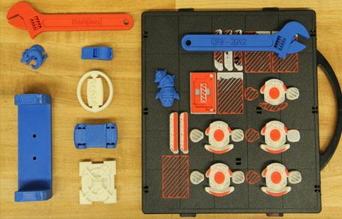 Variety of 3D printed items including wrenches and other small parts