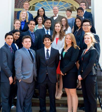 Members of the Case Western Reserve University Student Turning Point Society standing on steps