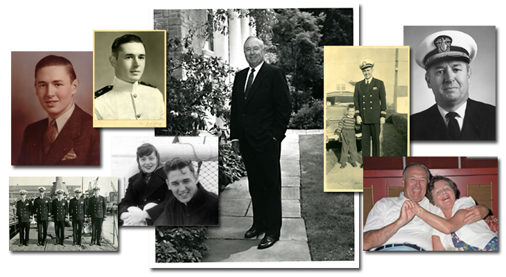 Collage of photos of F. Joseph Callahan throughout his life, including some with his wife