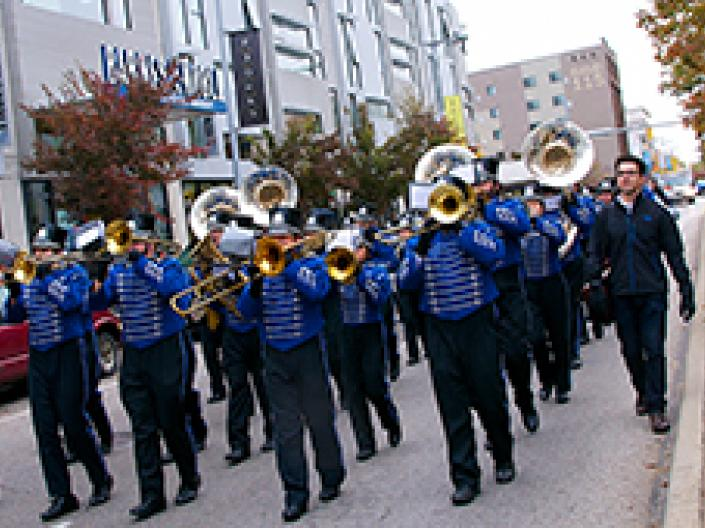 Case Western Reserve University marching band in a parade