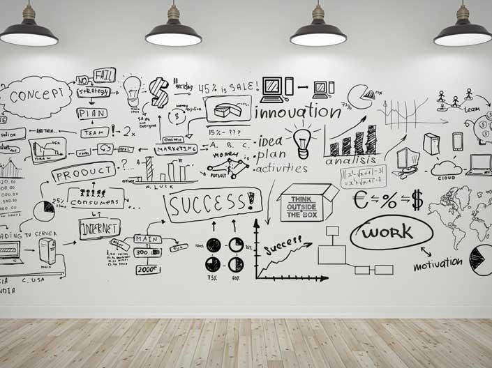 Stock image of a whiteboard covered in planning ideas