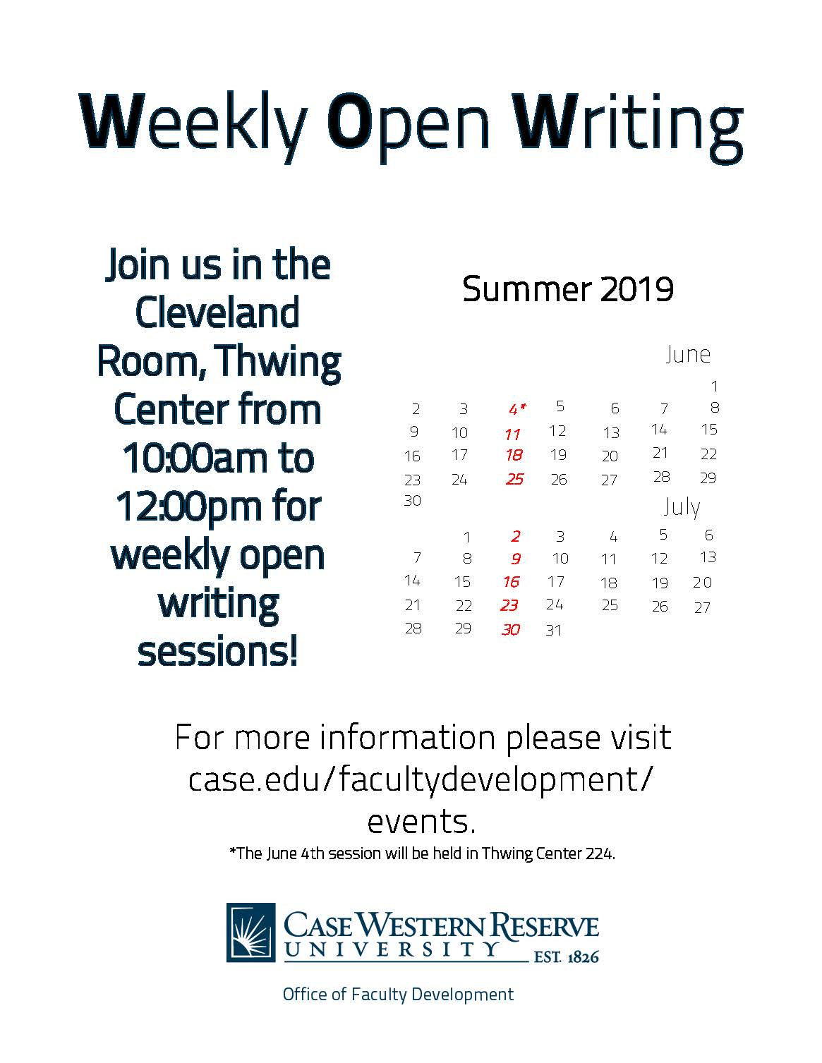 Weekly Open Writing Summer 2019 schedule