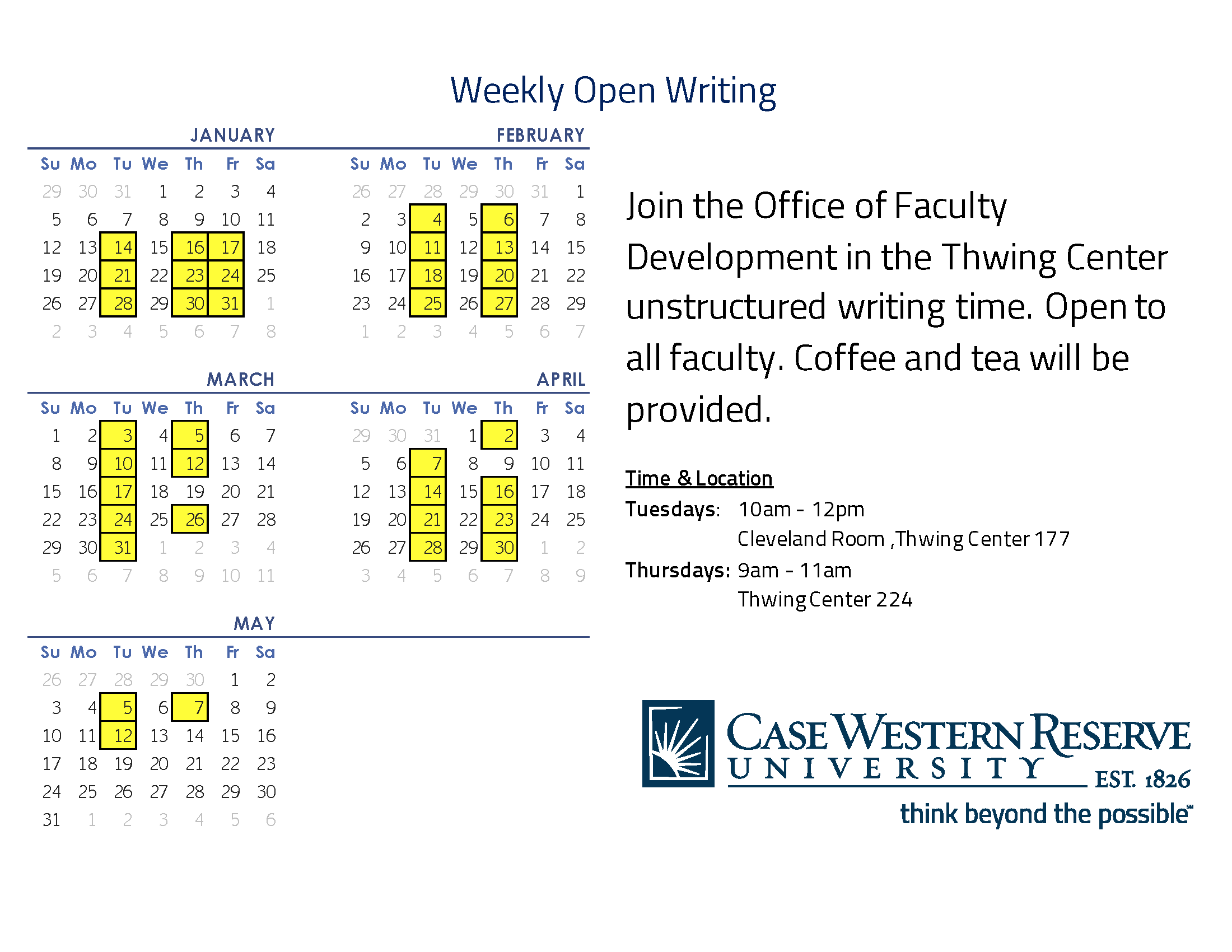 Flyer Spring Weekly Open Writing 2020