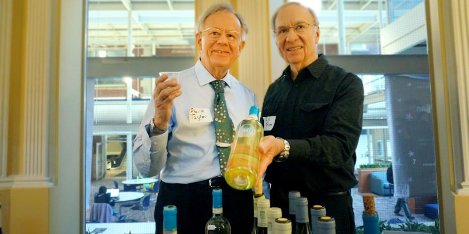 picture of phillip taylor and jim at fac dev wine tasting