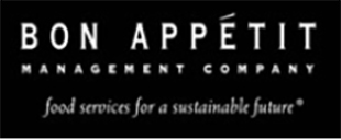 Logo for Bon Appetit Management Company, food services for a sustainable future, with white text on black background