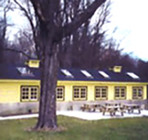 Outside view of Ceramic Studio at CWRU Farm, in yellow with dark roof and picnic tables and tree in foreground
