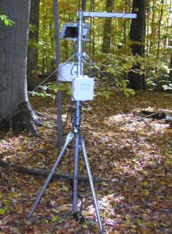 Primary Forest Weather Station instrumentation in the field for CWRU Farm