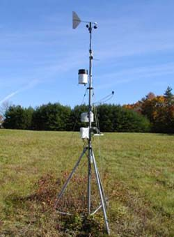 Open Field Weather Station instrumentation in the field at CWRU Farm