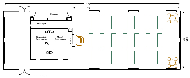 November Meeting Center L: 106' W: 35' and 65' from front to kitchen with Kitchen 2 Storage rooms Womens and Mens restroom 21 rectangular tables 2 sets of round tables and chairs