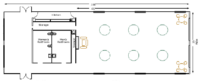 Ground floor November Meeting Center L: 106' W: 35' and 65' from front to kitchen 2 Storage rooms Womens and Mens restroom with six round tables 2 small round tables with chairs