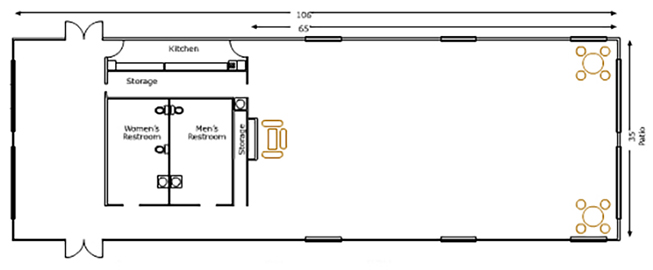 Floor plan of November Meeting Center, L: 106', W: 35', and 65' from front to kitchen, with Kitchen, two Storage rooms, Women's and Men's restroom, tables and chairs