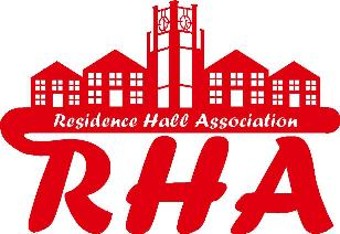 Logo for Residence Hall Association, RHA, with image of four buildings and clock tower in red on white background