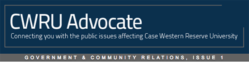 Heading for CWRU Advocate Connecting you with the public issues affecting Case Western Reserve University Government & Community Relations, Issue 1