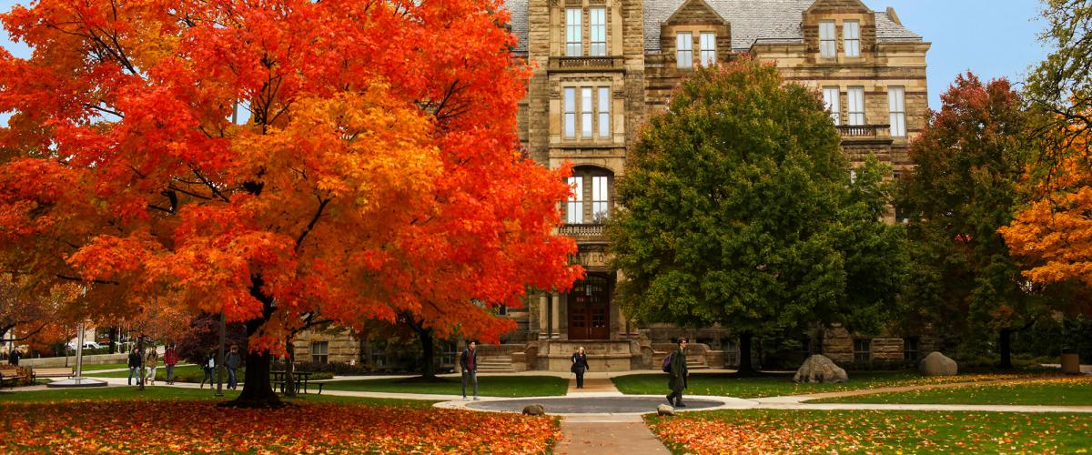 Exterior of Adlebert Hall on a fall day