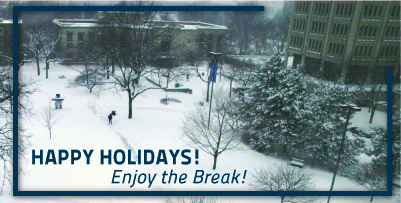 Happy Holidays Enjoy the Break Tomlinson North CWRU Quad in Winter