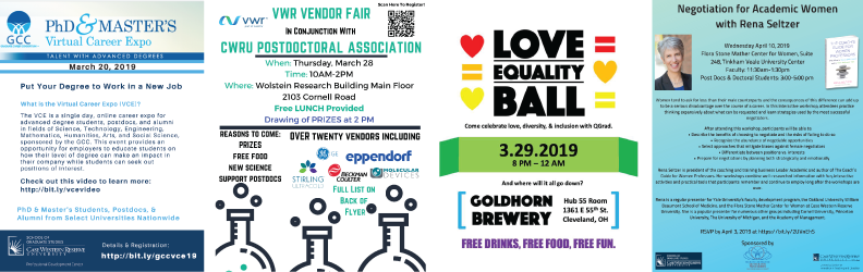 Collage of flyers for upcoming Events listed in March 2019 SGS Newsletter