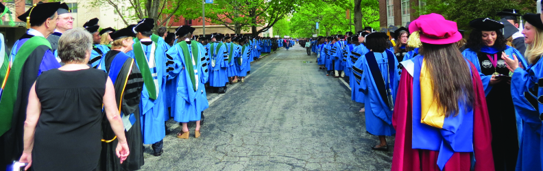 PhD Graduates lined up on Main Quad before Commencement Convocation 2017
