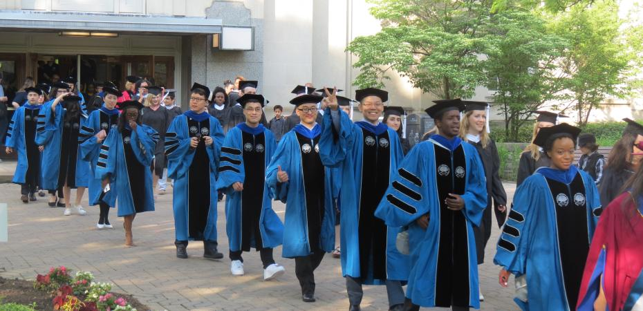 PhD Graduates Leave Tomlinson Hall on Commencement Day 2019