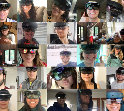 collage of students wearing hololens