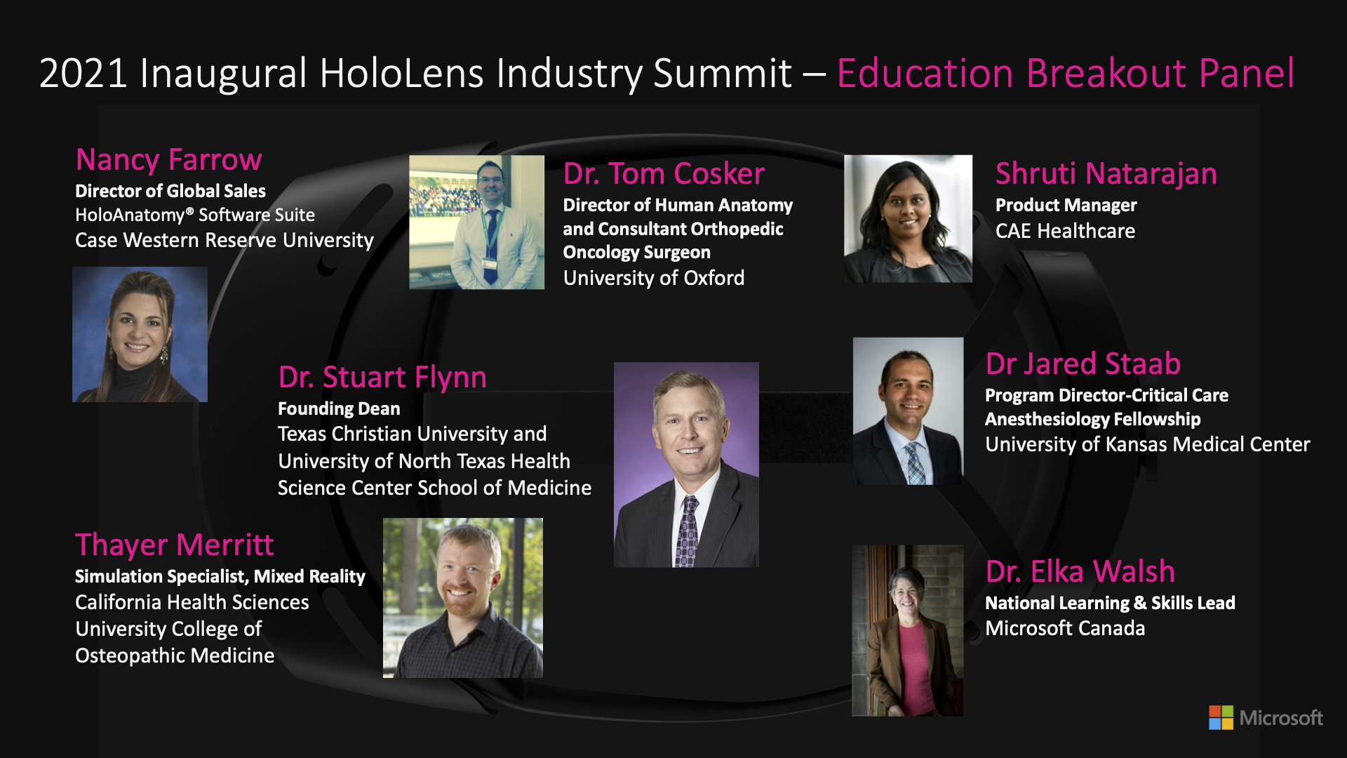 HoloLens Summit Breakout Slide Education Panel Speakers
