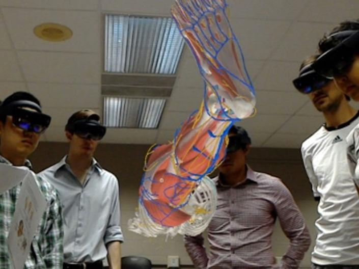 Students using HoloAnatomy® during their anatomy class
