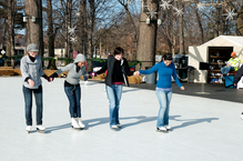 Students ice skating at Wade Oval
