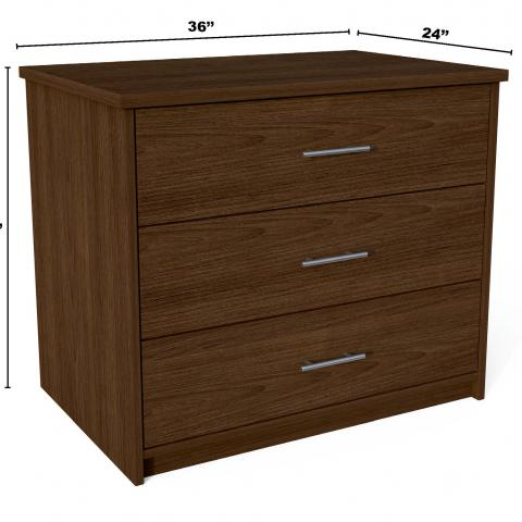 "Dark wood dresser with dimensions 30"" tall, 36"" long and 24"" wide"