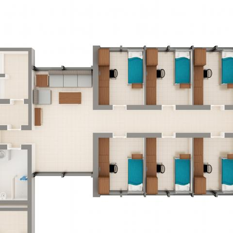 Alumni House suite layout image detailing apartment layout and furniture in each room