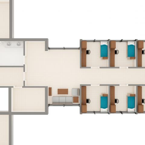 Michelson, Glaser, and Kusch Houses suite layout detailing furniture in each room