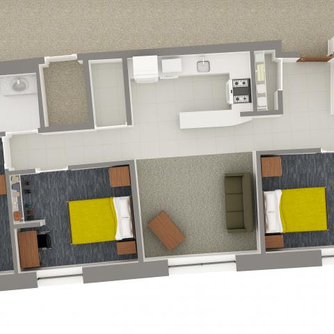 Village House 4 3-Person Apartment Layout detailing room and furniture contents