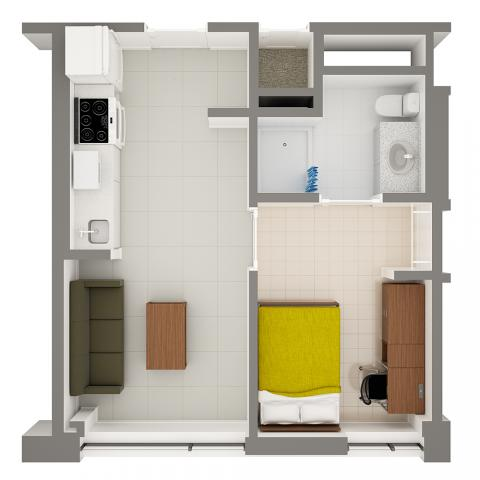 Stephanie Tubbs Jones Hall 1-Person Apartment Layout detailing rooms and furniture