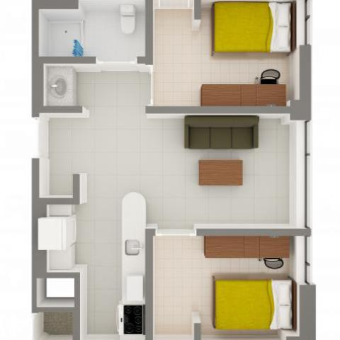 Stephanie Tubbs Jones Hall 2-Person Apartment Layout