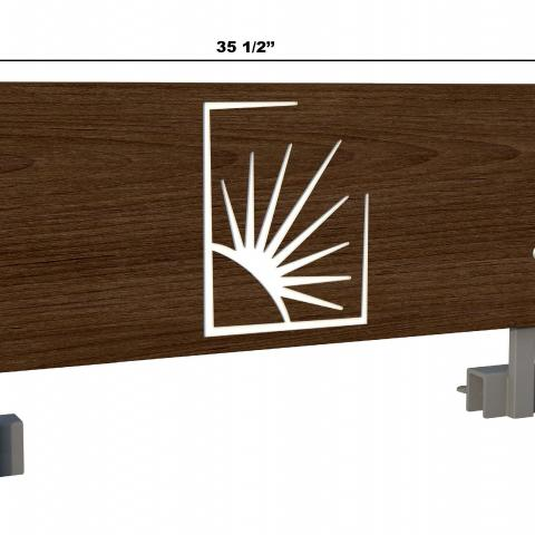 "Dark wood bed safety rail with Case logo with dimensions 34.5"" X 13.75"", with 1.625"" hinge"