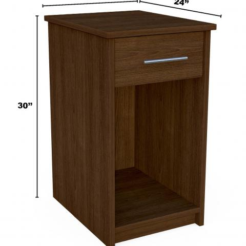"Dark wood bedside table with dimensions 30"" X 16"" X 24"""