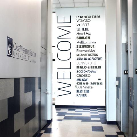 "Clarke Tower Entrance Hall showing case western reserve university ""Welcome"" mural"