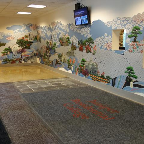 Smith House Foyer showing wall mural