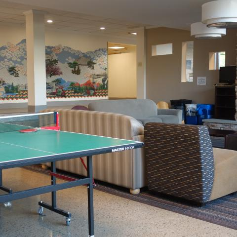 Smith House Common Room showing Ping pong table and furniture