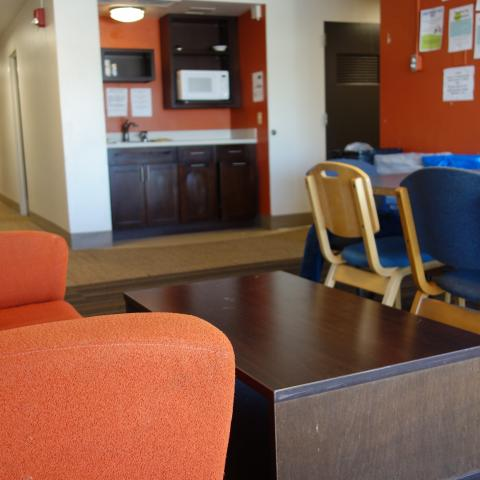Smith House 2nd Floor Lounge and Kitchenette showing furniture, sink, and microwave