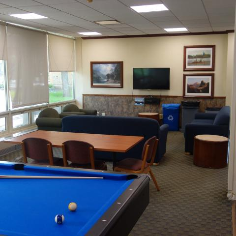 Tyler House Common Room with furniture, pool table, and television
