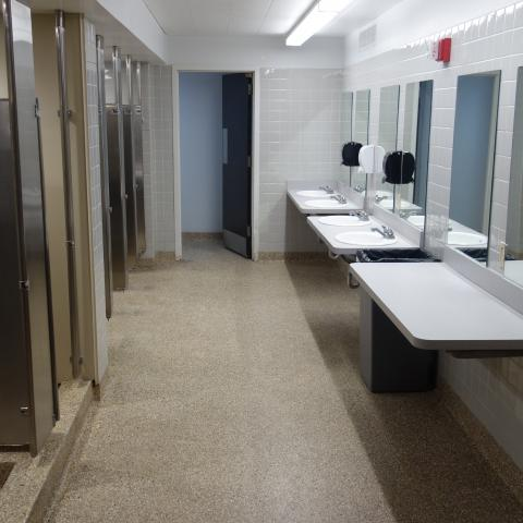 Norton, Raymond, Sherman, and Tyler House bathroom with sinks, shower stalls, and toilet stalls