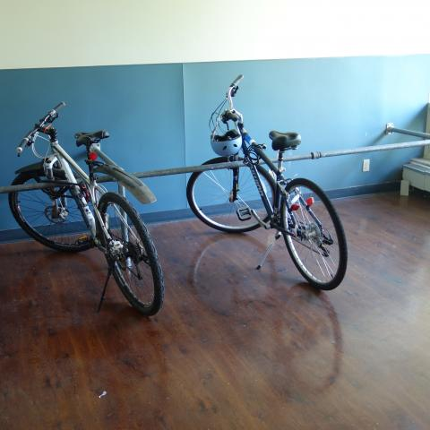 Sherman House Indoor Bike Room with bike racks & two bikes